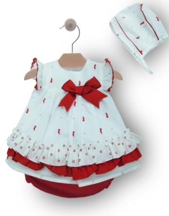 Jesusito de bebé niña caballito rojo y blanco con braguita y capota 10159