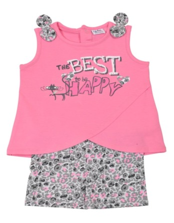 Conjunto de bebé niña verano tirantes leopardo rosa