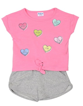 Conjunto de niña verano m/c corazones rosa y gris