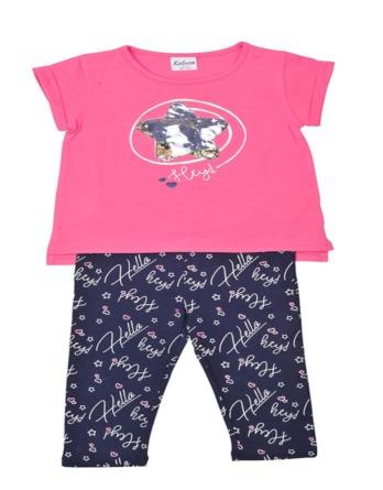 Conjunto de niña verano legging piratas estrella rosa