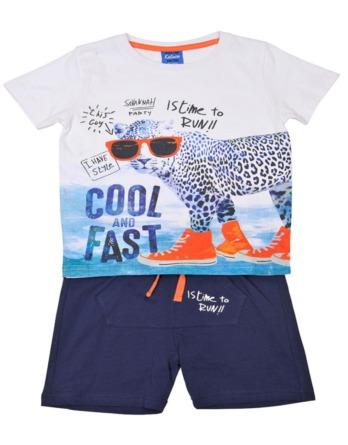 Conjunto de niño verano leopardo azulón y naranja