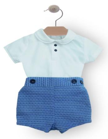 Conjunto de bebé niño de piqué azul y blanco