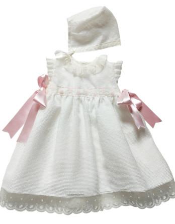 Vestido faldón de niña blanco con lazos rosas y capota 1102