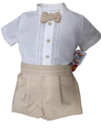 Conjunto de niño de raso con pajarita color nuez