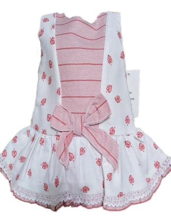 Vestido de bebé niña hojas blanco y rosa