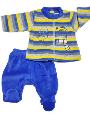 Conjunto primera puesta bebé niño terciopelo rayas amarillas