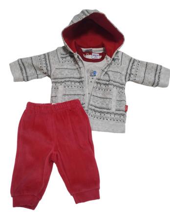 Chandal de bebé niño de terciopelo gris y rojo
