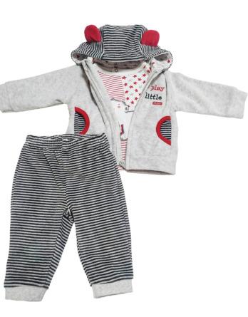 Chandal de bebé niño de terciopelo gris