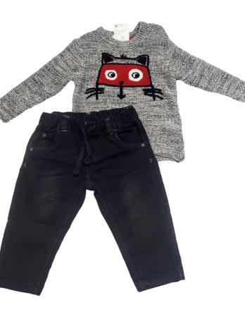 Conjunto de bebé niño vaquero gris y negro