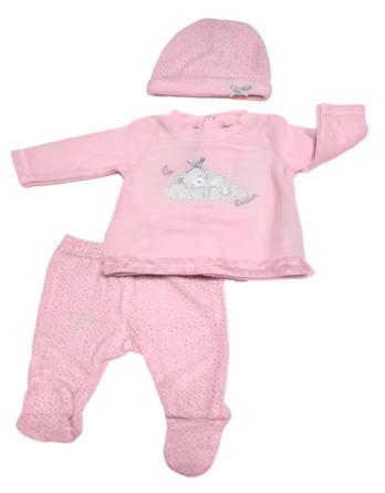 Conjunto primera puesta bebé niña terciopelo brilli rosa