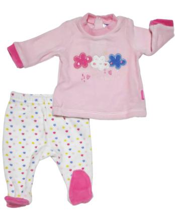 Conjunto primera puesta bebé niña terciopelo estrellas rosa