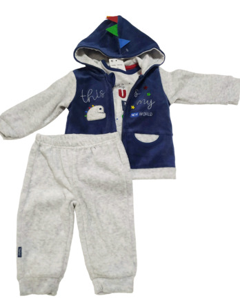 Chandal de bebé niño de terciopelo gris y marino