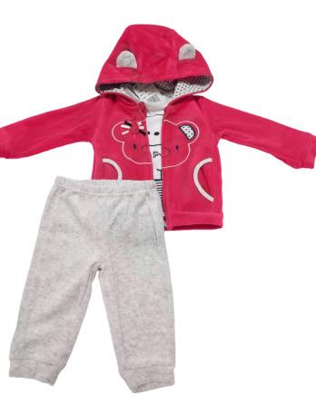Chandal de bebé niña terciopelo oso gris y fucsia19281024