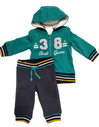 Chandal de bebé niño de algodón verde y gris