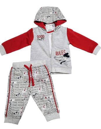 Chandal de bebé niño de algodón perros gris y rojo