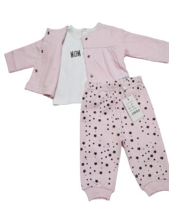 Chandal de bebé niña algodón estrellas rosa
