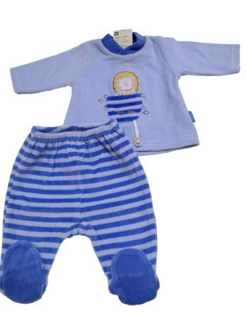 Conjunto primera puesta bebé niño terciopelo rayas azul