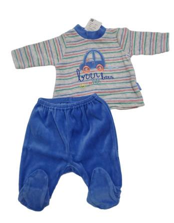 Conjunto primera puesta bebé niño terciopelo coche azul