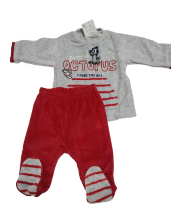 Conjunto primera puesta bebé niño terciopelo gris y rojo