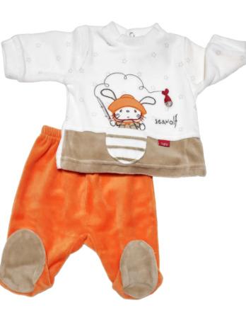 Conjunto primera puesta bebé niño terciopelo naranja15208023