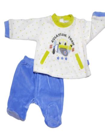 Conjunto primera puesta bebé niño terciopelo celeste y amarillo