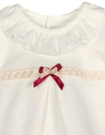 Conjunto de bebé niña vestir pompones crudo y rosa