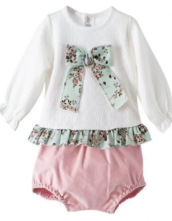 Conjunto de bebé niña vestir turquesa y blanco