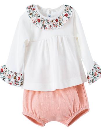 Conjunto de bebé niña vestir de flores salmón