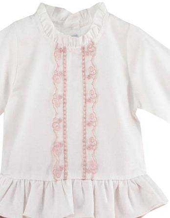 Conjunto de bebé niña vestir blanco y rosa maquillaje