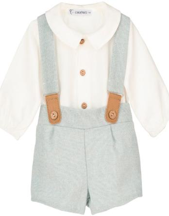 Conjunto de bebé niño con tirantes turquesa
