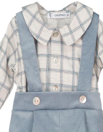 Conjunto de bebé niño con tirantes y camisa de cuadros azul