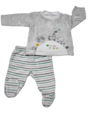 Conjunto primera puesta bebé niño terciopelo gris y verde