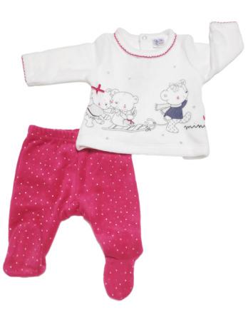 Conjunto primera puesta bebé niña terciopelo blanco y fucsia
