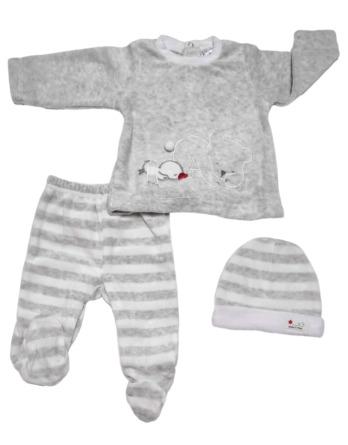 Conjunto primera puesta bebé niño terciopelo gris rayas blancas