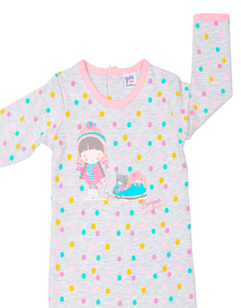 Pelele de niña bebé algodón m/l topos de colores