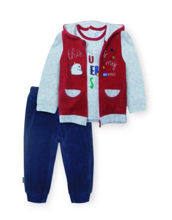 Chándal de bebé niño de terciopelo rojo y marino