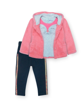 Conjunto de bebé niña leggings chaqueta peluche