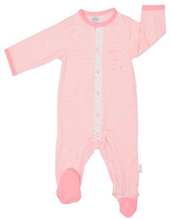 Pelele de niña bebé algodón m/l rayas rosa palo