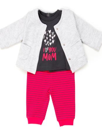 Conjunto de bebé niña algodón fucsia y gris 3 piezas