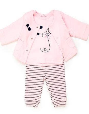 Conjunto de bebé niña algodón rosa palo 3 piezas