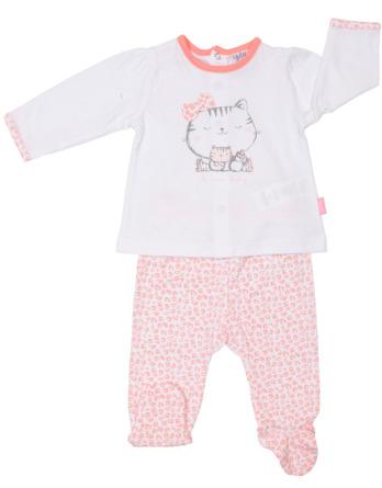 Conjunto primera puesta bebé niña algodón gato salmón