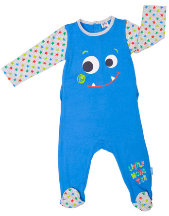 Pelele de niño bebé algodón m/l cara azulón
