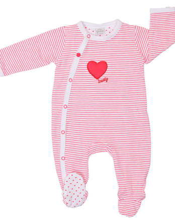 Pelele de niña bebé algodón m/l rayas fucsia