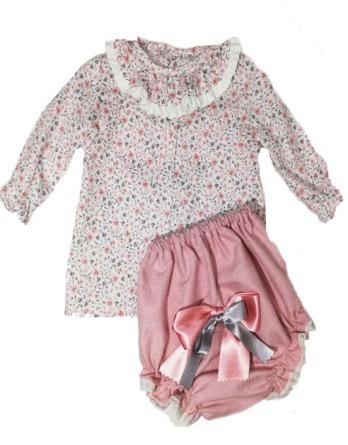 Conjunto de bebé niña vestir flores rosa y gris