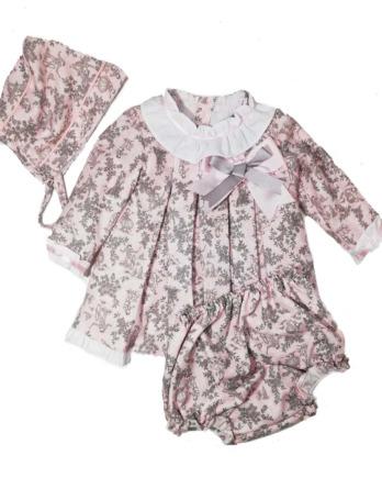 Jesusito de bebé niña vestir flores rosa y gris