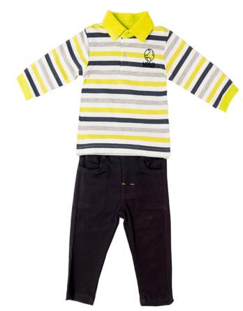 Conjunto de bebé niño polo de rayas y pantalón de loneta
