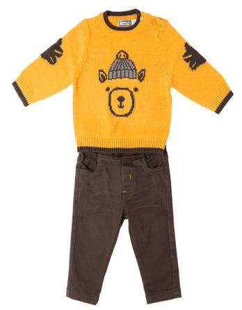 Conjunto de bebé niño jersey oso mostaza y pantalón de loneta