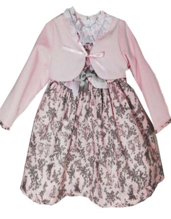 Vestido de niña vestir flores gris y rosa