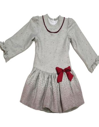 Vestido de niña vestir lazo granate y gris