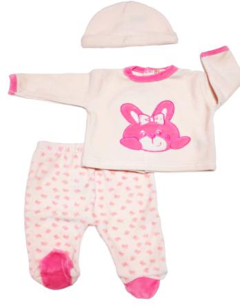 Conjunto primera puesta bebé niña terciopelo conejo rosa